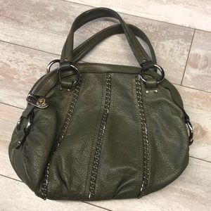 Olive Green B Makowsky Purse With Chain Detail